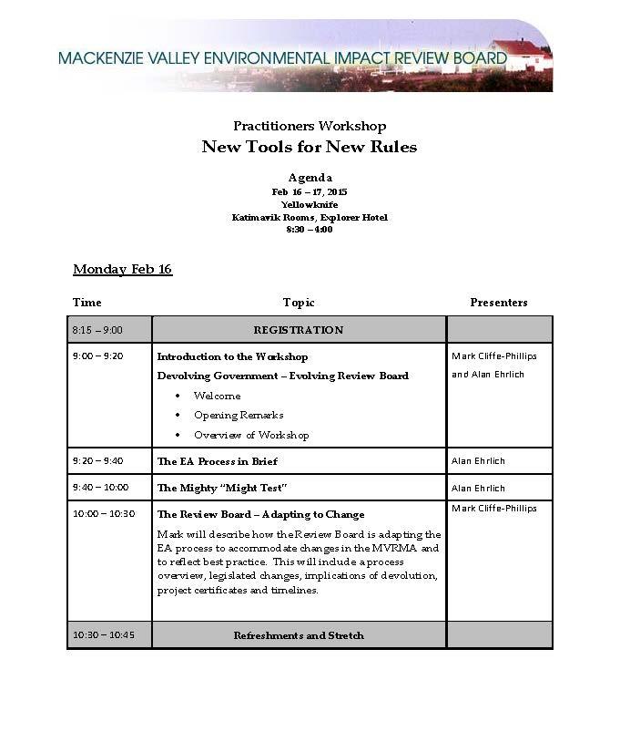 Practitioners workshop Mackenzie Valley Review Board – Workshop Agenda Example